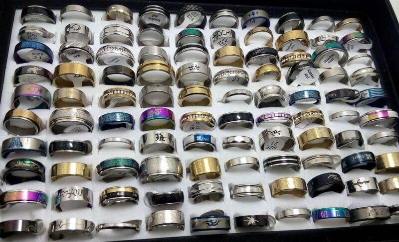 NEW 50pcs MIX LOT Stainless Steel rings Wholesale Men Women Fashion Jewelry lot