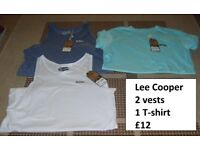 lee cooper size medium t shirt and vests £10 from a smoke and pet free home collection from didcot