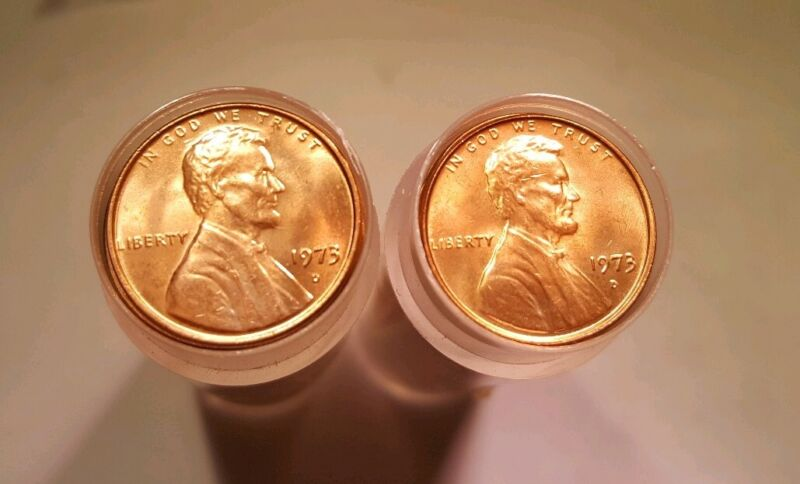 LOT OF 2 1973 D Lincoln Memorial Cent Penny Original Choice BU Roll 100 Coins