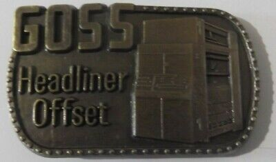 Vintage 1980 GOSS Headliner Offset Metal Belt Buckle by Baker Printing Machines  for sale  Shipping to India