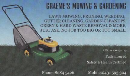I TAKE PRIDE IN MY WORK, LAWN MOWING , WEEDING , YARD TIDY'S Craigmore Playford Area Preview