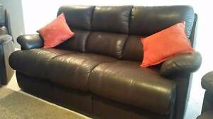 Genuine Leather Lounge 3 Seater and 2 Recliners Corlette Port Stephens Area Preview