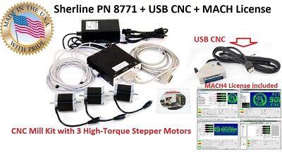 Sherline Pn 8771 Usb Cnc Mach4 License High Torgue Stepper Motors Mill Kit