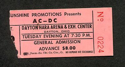 Original 1980 AC/DC concert ticket stub Dayton Ohio Back In Black Tour