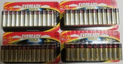 Eveready - Gold AA Alkaline Battery 1.5Vcc (4 x 36=144 Batteries) Exp.12/2026