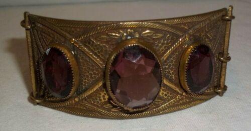Big Vintage Victorian Revival Brass Hinged Wide Link Bracelet Amethyst Stones