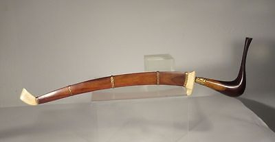 Antique South East Asian Rosewood Mahogany Inlaid Burmese Balinese Sword Dagger