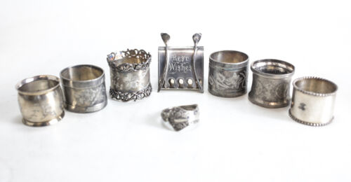 8pc assorted Victorian Silverplate Napkin rings Wishbone, engraved, flatware