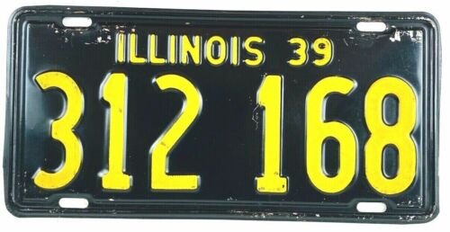 Illinois 1939 Vintage License Plate Antique Car Tag Garage Man Cave Gift Shorty