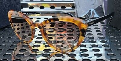 New Prada PR02VS Sunglasses Gloss Black-Orange Havana w/ Brown Gradient Lenses Orange Havana Sunglasses