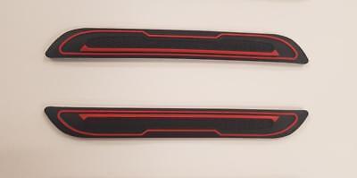 2 X BLACK RUBBER DOOR MIRROR GUARD PROTECTORS RED INSERT DG5 MOTORBI