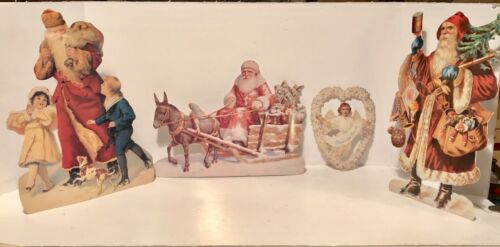 """4 Victorian Die Cut Santa Claus Christmas Card Ornaments Up To 12"""" Tall - Repro"""