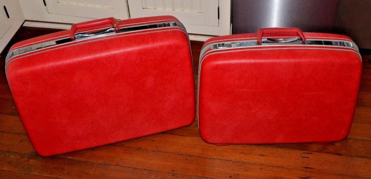 Stunning Vintage Red/Pink Samsonite Silhouette Suit Case Set 2 Pc.  - $88.31