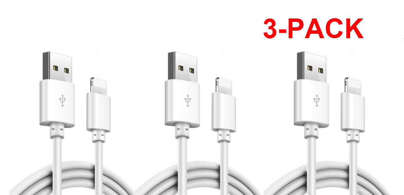 3-Pack Lightning Cable Heavy Duty for iPhone 11 PRO MAX Charger Charging Cord Cables & Adapters