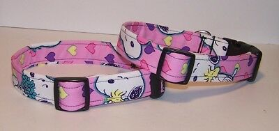 Snoopy Valentines Day (Wet Nose Designs Bright Snoopy Love Dog Collar on Pink Valentines Day)