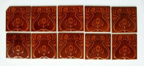 10 Matching Antique Art Nouveau Brown Majolica Tiles Henry Richards (?) England