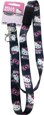 Pink Lanyards (Hello Kitty LANYARD key chain Black Pink Hello Kitty BREAKAWAY Authentic)