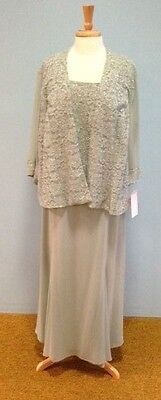 BRAND NEW!  Mother of the Bride  Celadon  Chiffon & Lace Jacket Dress - Size 22W