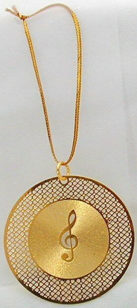 """G-Clef w/Record laser cutting hanging ornament 1.75"""" (Gold)"""