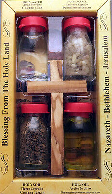 Holy water, earth,oil and incense w/ Olivewood cross from the Holyland
