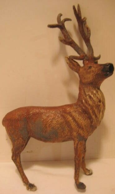 Old 1930s German Lead Heyde Reindeer for Christmas Village - leg as is