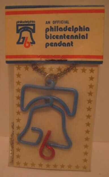 Old official Philadelphia Bicentennial Red Blue Wire Bell Pendant in Package