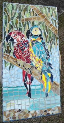 Piece Made Stained Glass Mosaic Picture of 2 Parrots at the Beach / Wall hanging