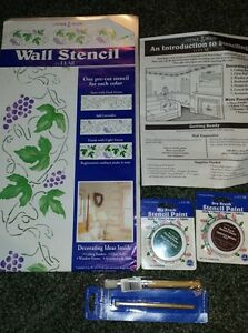 Wall Stencil paint and brushes