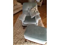 Parker Knoll Queen Ann arm chair with matching footstool