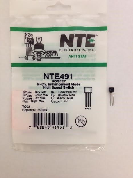 NTE NTE491 MOSFET N-Ch, Enhancement Mode High Speed Switch