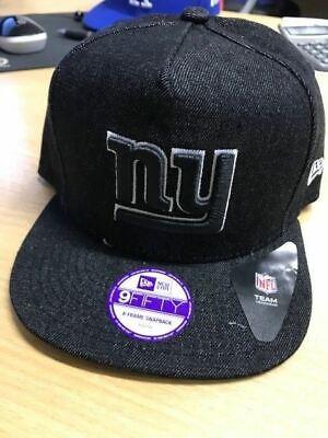 S91 NEW ERA NFL Snapback Baseball Cap  NEW YORK GIANTS Black Denim YOUTH KIDS