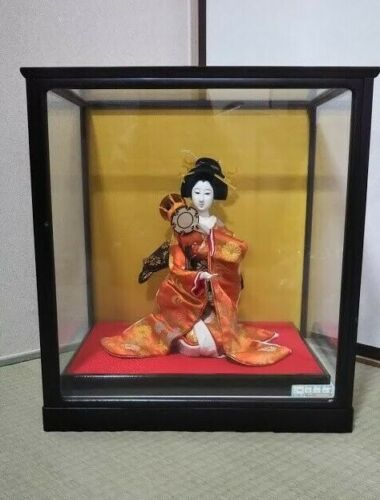 Vintage Japanese doll in Kimono on Wooden Base in Glass Case playing  Drum