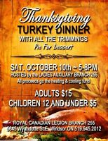 Thanksgiving Turkey dinner with The Royal Canadian Legion Br 255