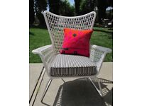 Indoor/outdoor high-back chairs (pair)