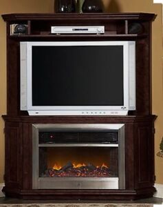 Corner entertainment unit with fireplace
