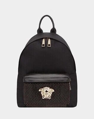 BNWT 100% auth VERSACE Palazzo Stud Nylon Backpack Medusa, Medium Size, $1280