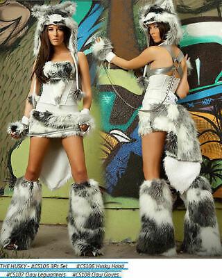 CS105  J Valentine USA 6 piece Sexy Husky Dog Halloween Costume Complete Set NEW