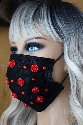 OpMaske Mund Nasen Schutz Maske Glitzer Strass schwarz Rosen rot Mundschutz