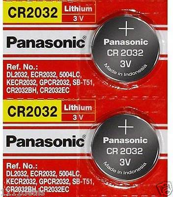 [ 2 pcs ] -- Panasonic Cr2032 3v Lithium Coin Cell Battery Dl2032 Ecr2032