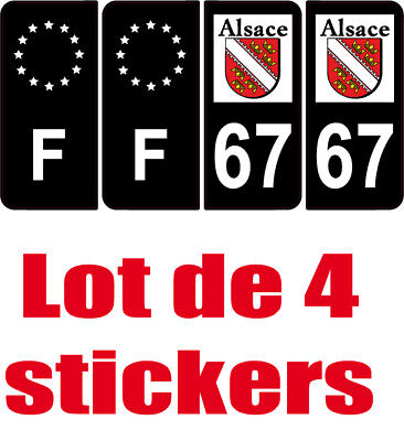 4 autocollants 2 paires stickers style auto plaque black edition noir f+ 67
