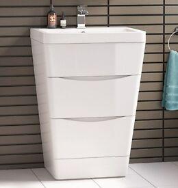 600 mm Modern Gloss White Bathroom Basin Drawer Unit – Floor Standing - £270