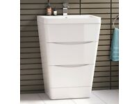 Brand NEW! Modern Gloss White Bathroom Basin Drawer Unit – Floor Standing - £270