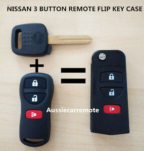 NISSAN 3 BUTTON REMOTE FLIP KEY CASE SHELL FOR XTRAIL PATHFINDER TIIDA MAXIMA