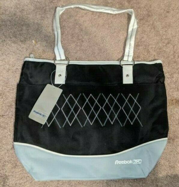 NWT REEBOK BLACK ACTIVE SHOULDER TOTE BAG TRAVEL GYM TOILETRY MEDIUM SIZE DIAPER - $4.99