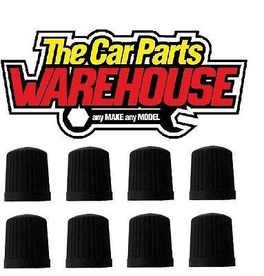 8 x Black plastic Wheel tyre valve dust caps BEST OFFER OF 89p ACCEPTED !!!
