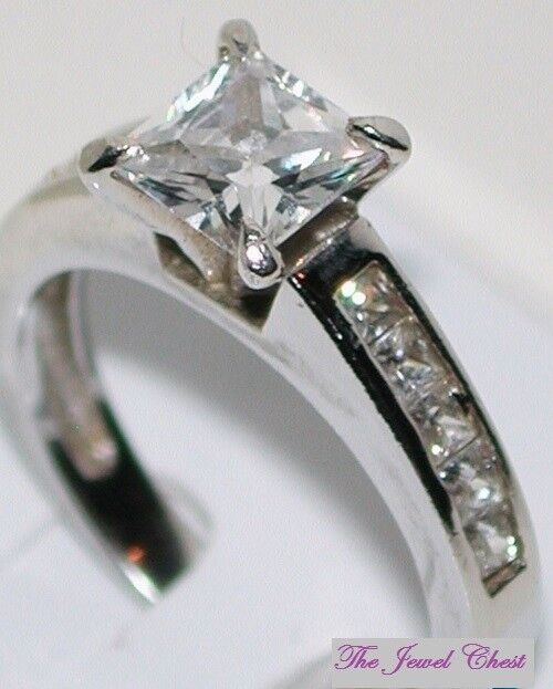 2.75 Ct Princess Cut Solitaire Diamond Engagement Ring Bridal Set White Gold Ov - $54.00