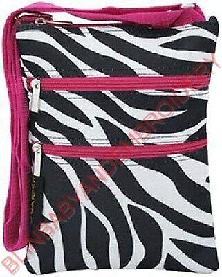 Hot Pink Fuchsia Zebra Messenger Hipster Crossbody Purse Passport Tote Bag