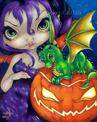 Halloween Pumpkin Artwork (Jasmine Becket-Griffith art print SIGNED Darling Dragonling II halloween)
