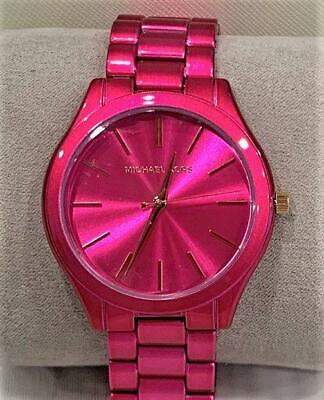 Michael Kors MK4414 Ladies Slim Runway Hot Pink Watch NWT