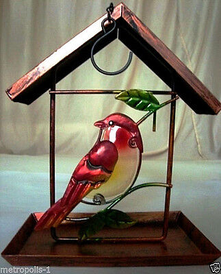 HANGING BIRD FEEDER,METAL & STAINED GLASS,SPARROW WITH LEAVES,COPPER FINISH, NEW